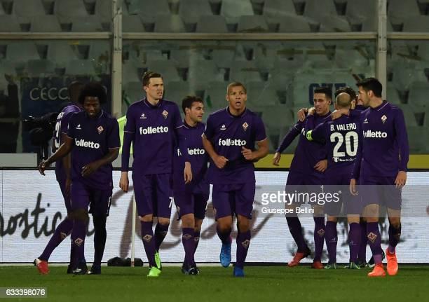 Cristian Tello of ACF Fiorentina celebrates after scoring goal 12 during the Serie A match between Pescara Calcio and ACF Fiorentina at Adriatico...