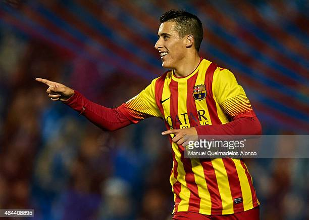 Cristian Tello of Barcelona celebrates after scoring during the Copa del Rey Quarter Final First Leg match between Levante UD and FC Barcelona at...