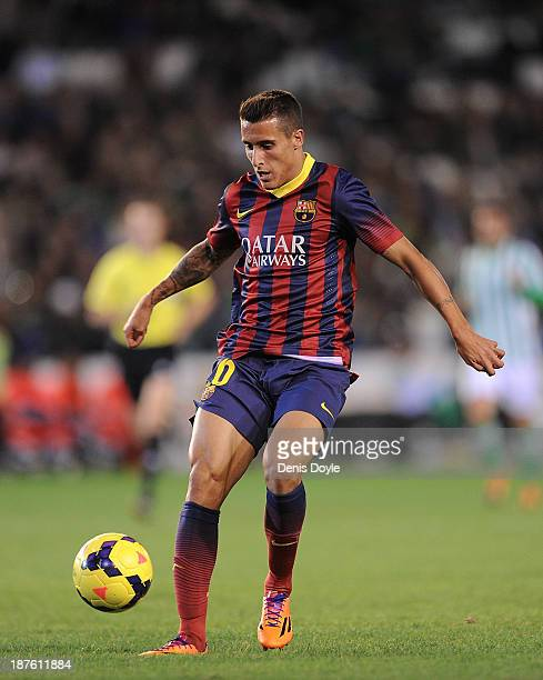 Cristian Tello of FC Barcelona in action during the La Liga match between Real Betis Balompie and FC Barcelona at Estadio Benito Villamarin on...