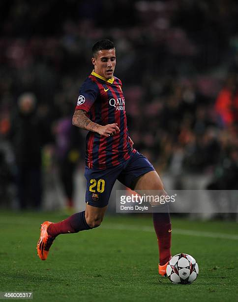 Cristian Tello of FC Barcelona in action during the UEFA Champions League Group H match between FC Barcelona and Celtic FC at the Camp Nou Stadium on...
