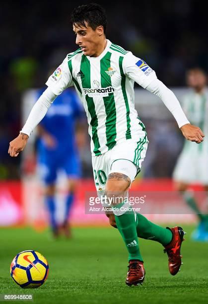 Cristian Tello of Real Betis Balompie in action during the La Liga match between Real Betis and Getafe at Estadio Benito Villamarin on November 3...