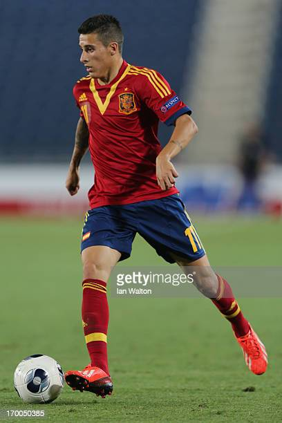Cristian Tello of Spain during the UEFA European U21 Championships Group B match between Spain and Russia at Teddy Stadium on June 6 2013 in...