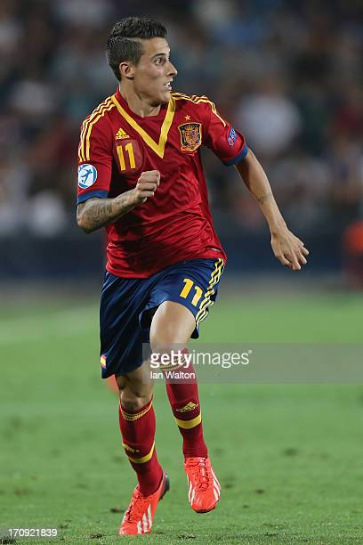 Cristian Tello of Spain during the UEFA European U21 Championships Final match between Spain and Italy at Teddy Stadium on June 18 2013 in Jerusalem...