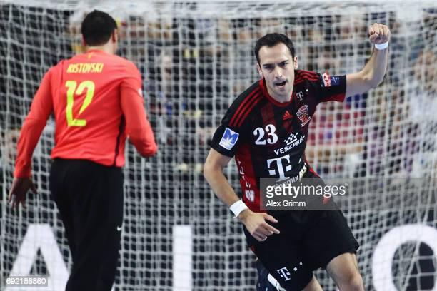 Cristian Ugalde Garcia of Veszprem celebrates a goal during the VELUX EHF FINAL4 3rd place match between Telekom Veszprem and FC Barcelona Lassa at...
