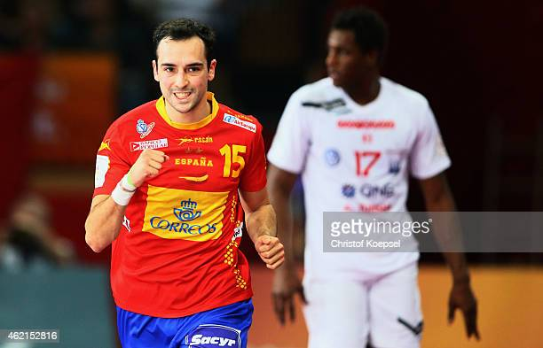 Cristian Ugalde of Spain celebrates a goal during the eight final match between Spain and Tunisia at Lusail Multipurpose Hall on January 25 2015 in...