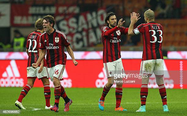 Cristian Zaccardo of AC Milan celebrates his goal with his teammate Alex Dias da Costa during the Serie A match between AC Milan and Parma FC at...