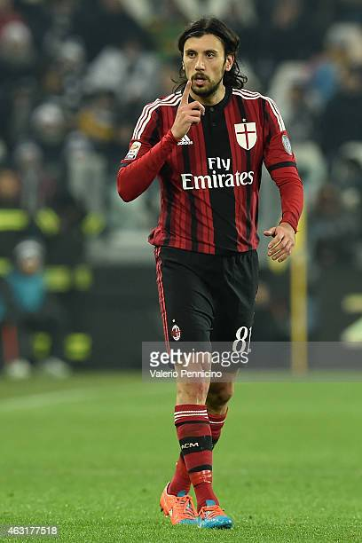 Cristian Zaccardo of AC Milan gestures during the Serie A match between Juventus FC and AC Milan at Juventus Arena on February 7 2015 in Turin Italy
