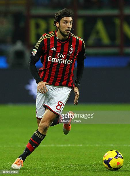 Cristian Zaccardo of AC Milan in action during the Serie A match between AC Milan and Bologna FC at San Siro Stadium on February 14 2014 in Milan...