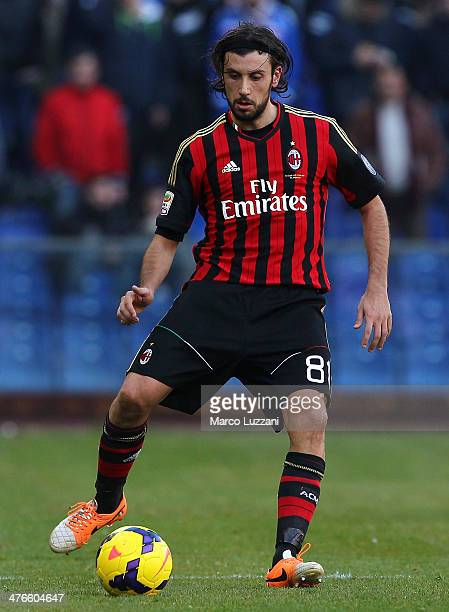 Cristian Zaccardo of AC Milan in action during the Serie A match between UC Sampdoria and AC Milan at Stadio Luigi Ferraris on February 23 2014 in...