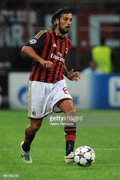 Cristian Zaccardo of AC Milan in action during the UEFA Champions League group H match between AC Milan and Celtic at Stadio Giuseppe Meazza on...