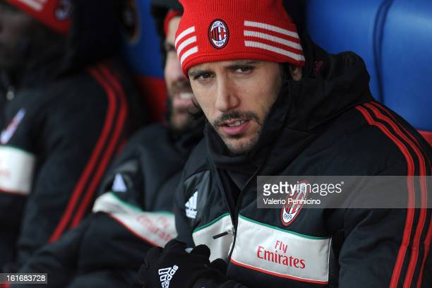 Cristian Zaccardo of AC Milan looks on prior to the Serie A match between Cagliari Calcio and AC Milan at Stadio Is Arenas on February 10 2013 in...