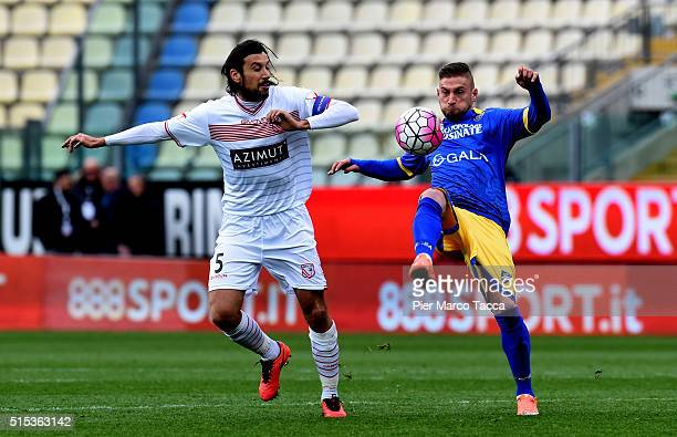 Cristian Zaccardo of Carpi FC competes for the ball with Federico Dionisi of Frosinone Calcio during the Serie A match between Carpi FC and Frosinone...