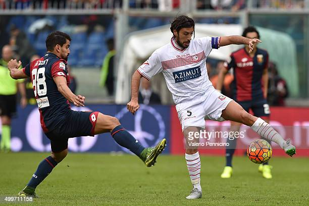 Cristian Zaccardo of Carpi FC controls the ball against Tomas Rincon of Genoa CFC during the Serie A match between Genoa CFC and Carpi FC at Stadio...