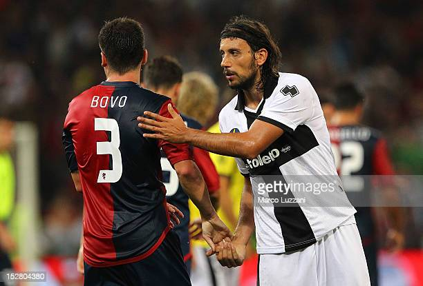 Cristian Zaccardo of FC Parma shakes hands with Cesare Bovo of Genoa CFC at the end of the Serie A match between Genoa CFC and Parma FC at Stadio...