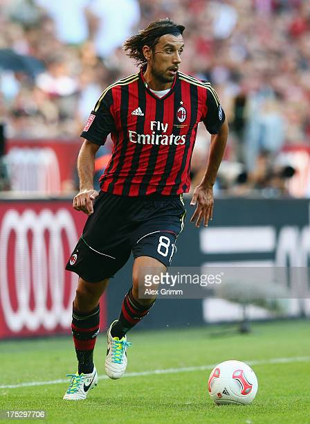 Cristian Zaccardo of Milan controles the ball during the Audi Cup match between FC Sao Paulo and AC Milan at Allianz Arena on August 1 2013 in Munich...