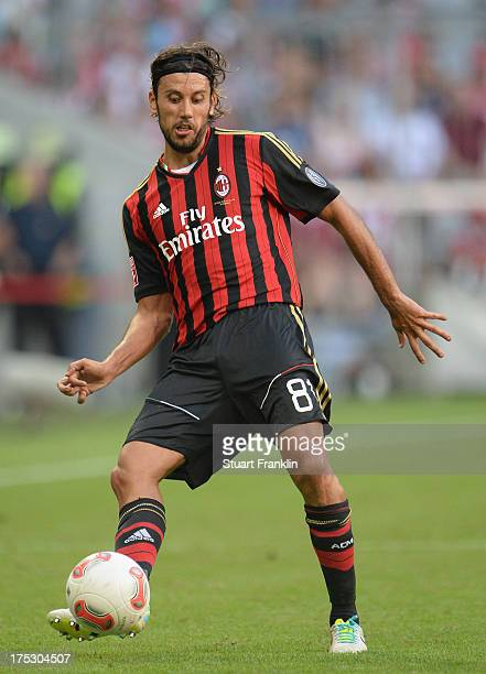 Cristian Zaccardo of Milan in action during the third place match between FC Sao Paulo and AC Milan at Allianz Arena on August 1 2013 in Munich...