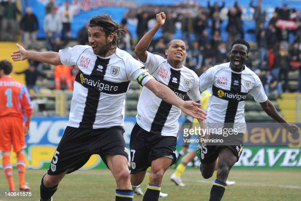 Cristian Zaccardo of Parma FC celebrates after scoring during the Serie A match between Parma FC and SSC Napoli at Stadio Ennio Tardini on March 4...