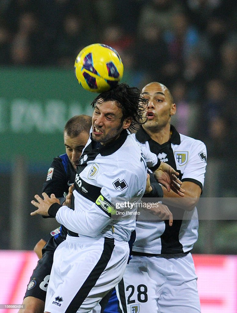 Cristian Zaccardo of Parma FC in action during the Serie A match between Parma FC and FC Internazionale Milano at Stadio Ennio Tardini on November 26, 2012 in Parma, Italy.