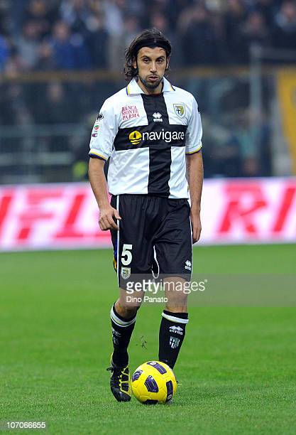 Cristian Zaccardo of Parma in action during the Serie A match between Parma and Lazio at Stadio Ennio Tardini on November 21 2010 in Parma Italy