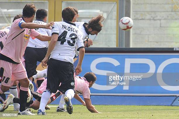 Cristian Zaccardo of Parma scores a goal during Serie A match played between Parma FC and US Citta di Palermo at Stadio Ennio Tardini on September 20...