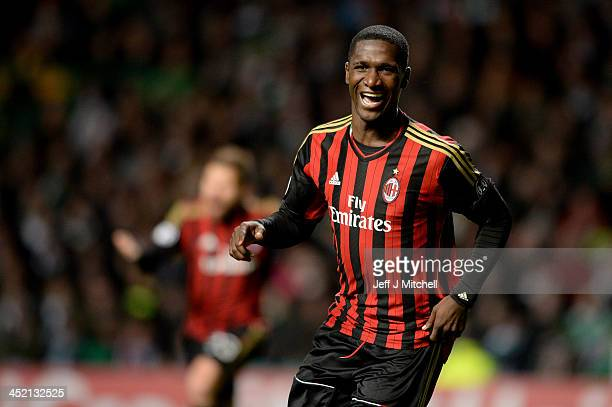 Cristian Zapata of AC Milan celebrates after scoring during the UEFA Champions League Group H match between Celtic and AC Milan at Celtic Park...