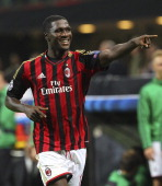 Cristian Zapata of AC Milan celebrates after scoring the opening goal during the UEFA Champions League group H match between AC Milan and Celtic at...