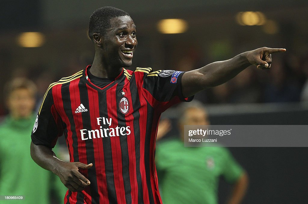 <a gi-track='captionPersonalityLinkClicked' href=/galleries/search?phrase=Cristian+Zapata&family=editorial&specificpeople=854055 ng-click='$event.stopPropagation()'>Cristian Zapata</a> of AC Milan celebrates after scoring the opening goal during the UEFA Champions League group H match between AC Milan and Celtic at Stadio Giuseppe Meazza on September 18, 2013 in Milan, Italy.