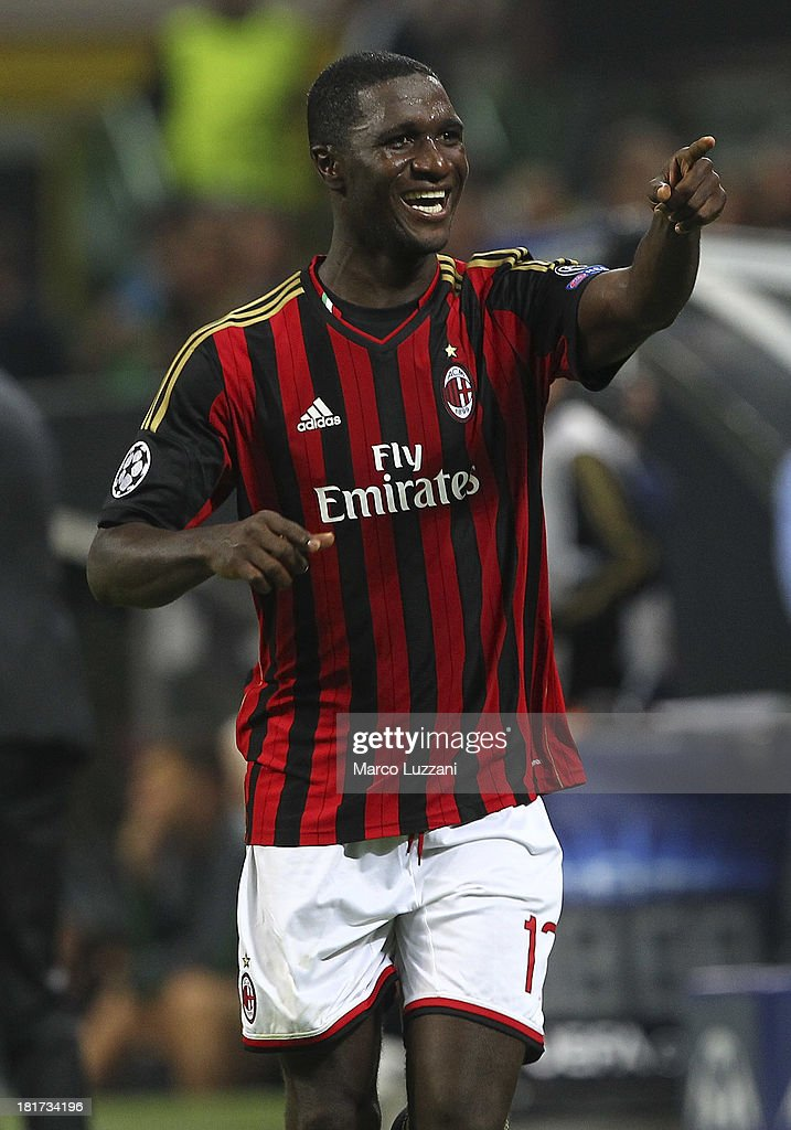 Cristian Zapata of AC Milan celebrates after scoring the opening goal during the UEFA Champions League group H match between AC Milan and Celtic at Stadio Giuseppe Meazza on September 18, 2013 in Milan, Italy.