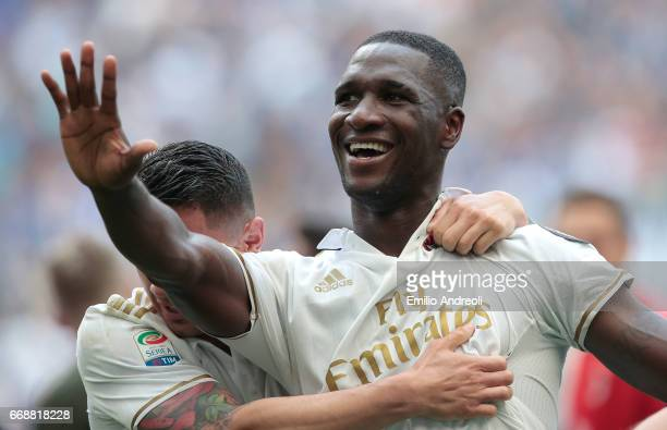 Cristian Zapata of AC Milan celebrates his goal with his teammate Gianluca Lapadula during the Serie A match between FC Internazionale and AC Milan...