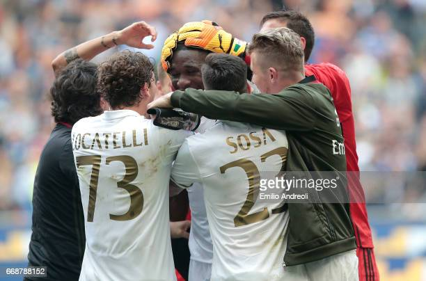 Cristian Zapata of AC Milan celebrates his goal with his teammates during the Serie A match between FC Internazionale and AC Milan at Stadio Giuseppe...