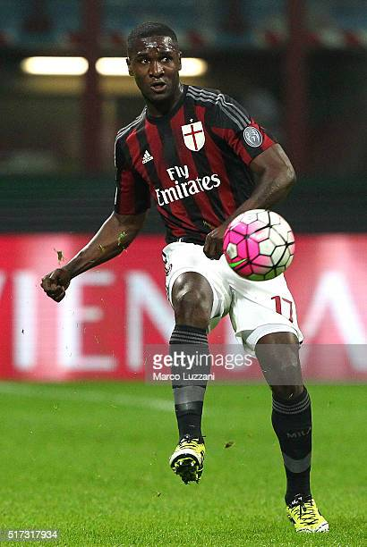 Cristian Zapata of AC Milan in action during the Serie A match between AC Milan and SS Lazio at Stadio Giuseppe Meazza on March 20 2016 in Milan Italy