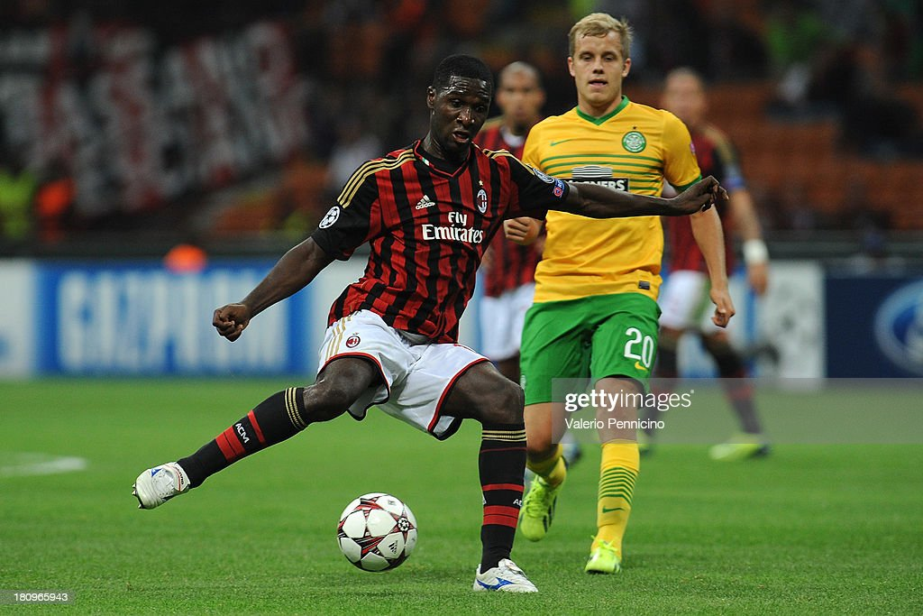 <a gi-track='captionPersonalityLinkClicked' href=/galleries/search?phrase=Cristian+Zapata&family=editorial&specificpeople=854055 ng-click='$event.stopPropagation()'>Cristian Zapata</a> of AC Milan in action during the UEFA Champions League group H match between AC Milan and Celtic at Stadio Giuseppe Meazza on September 18, 2013 in Milan, Italy.
