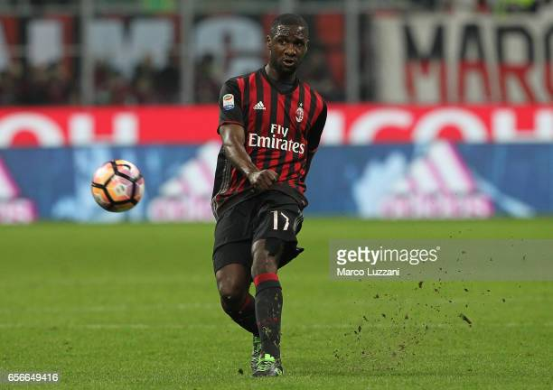 Cristian Zapata of AC Milan kicks a ball during the Serie A match between AC Milan and Genoa CFC at Stadio Giuseppe Meazza on March 18 2017 in Milan...