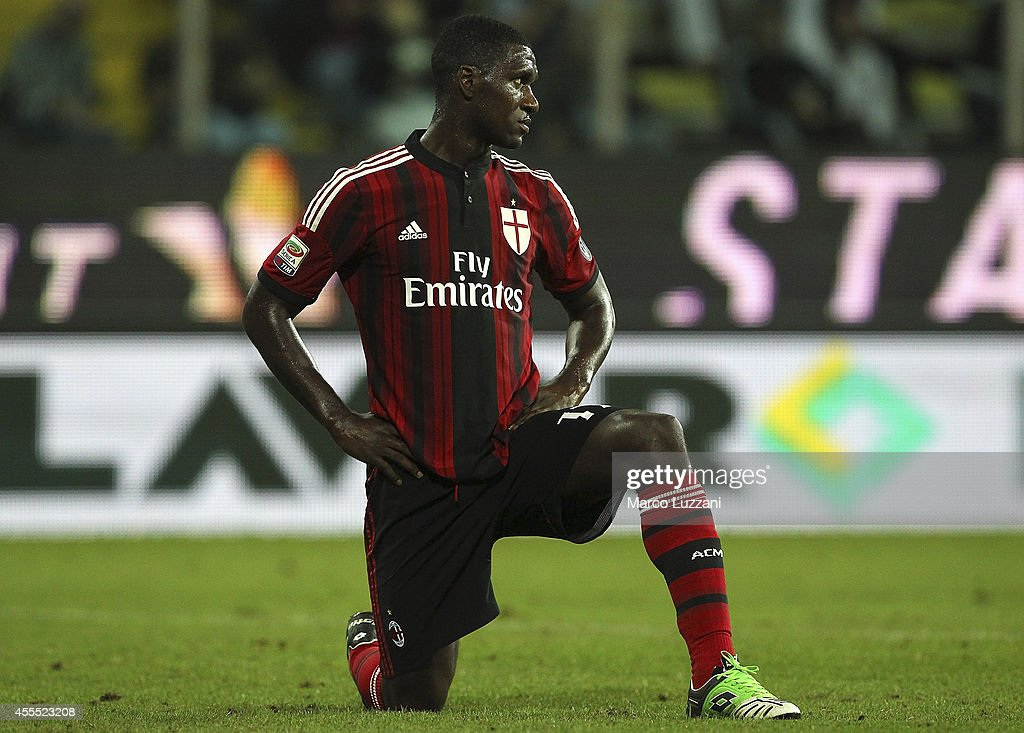 <a gi-track='captionPersonalityLinkClicked' href=/galleries/search?phrase=Cristian+Zapata&family=editorial&specificpeople=854055 ng-click='$event.stopPropagation()'>Cristian Zapata</a> of AC Milan looks on during the Serie A match between Parma FC and AC Milan at Stadio Ennio Tardini on September 14, 2014 in Parma, Italy.