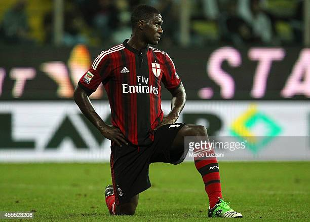 Cristian Zapata of AC Milan looks on during the Serie A match between Parma FC and AC Milan at Stadio Ennio Tardini on September 14 2014 in Parma...