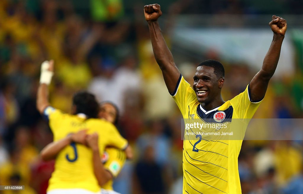 <a gi-track='captionPersonalityLinkClicked' href=/galleries/search?phrase=Cristian+Zapata&family=editorial&specificpeople=854055 ng-click='$event.stopPropagation()'>Cristian Zapata</a> of Colombia Celebrates after defeating Uruguay 2-0 during the 2014 FIFA World Cup Brazil round of 16 match between Colombia and Uruguay at Maracana on June 28, 2014 in Rio de Janeiro, Brazil.