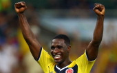 Cristian Zapata of Colombia Celebrates after defeating Uruguay 20 during the 2014 FIFA World Cup Brazil round of 16 match between Colombia and...