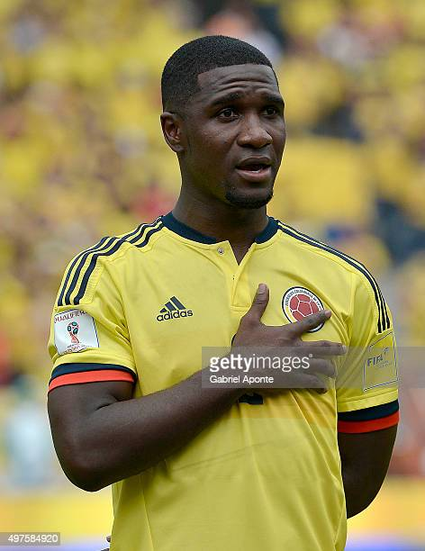 Cristian Zapata of Colombia during the formal events prior during a match between Colombia and Argentina as part of FIFA 2018 World Cup Qualifiers at...