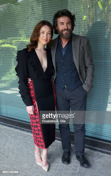 Cristiana Capotondi and Alessio Boni attend a photocall for 'Di Padre In Figlia' at Rai Viale Mazzini on April 6 2017 in Rome Italy
