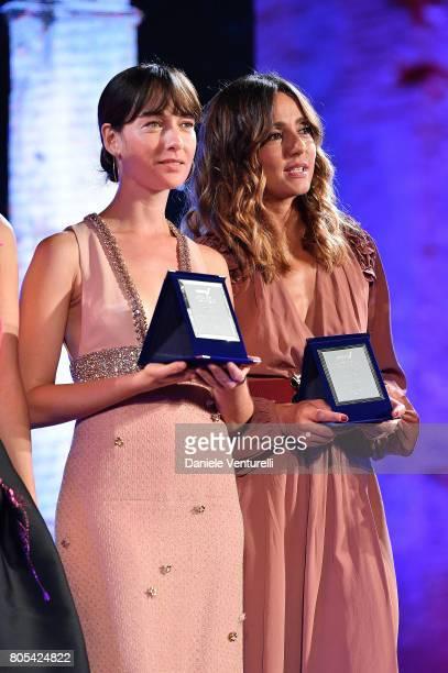 Cristiana Capotondi and Ambra Angiolini attends Nastri D'Argento 2017 Awards Ceremony on July 1 2017 in Taormina Italy