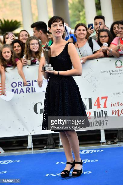 Cristiana Capotondi poses with the Giffoni Award during the Giffoni Film Festival 2017 on July 19 2017 in Giffoni Valle Piana Italy