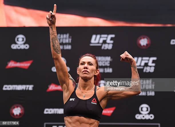 Cristiane 'Cyborg' Justino of Brazil steps on the scale during the UFC 198 weighin at Arena da Baixada stadium on May 13 2016 in Curitiba Parana...