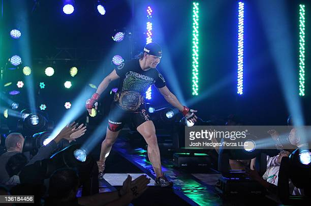 Cristiane 'Cyborg' Santos enters the arena before her bout against Hiroko Yamanaka during the Strikeforce event at the Valley View Casino Center on...