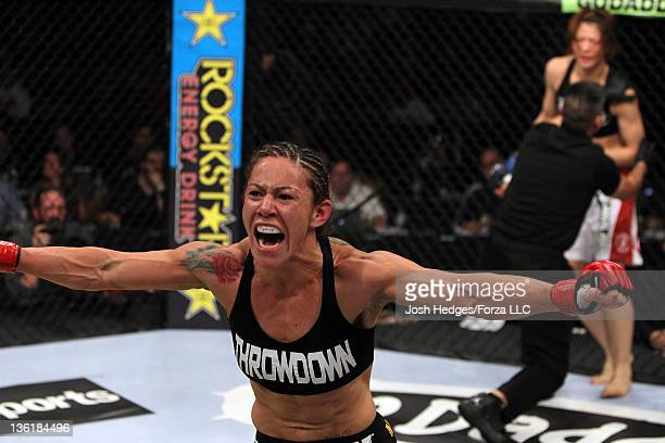 Cristiane 'Cyborg' Santos reacts after knocking out Hiroko Yamanaka during the Strikeforce event at the Valley View Casino Center on December 17 2011...