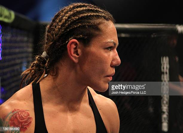 Cristiane 'Cyborg' Santos stands in the cage before her bout against Hiroko Yamanaka during the Strikeforce event at the Valley View Casino Center on...