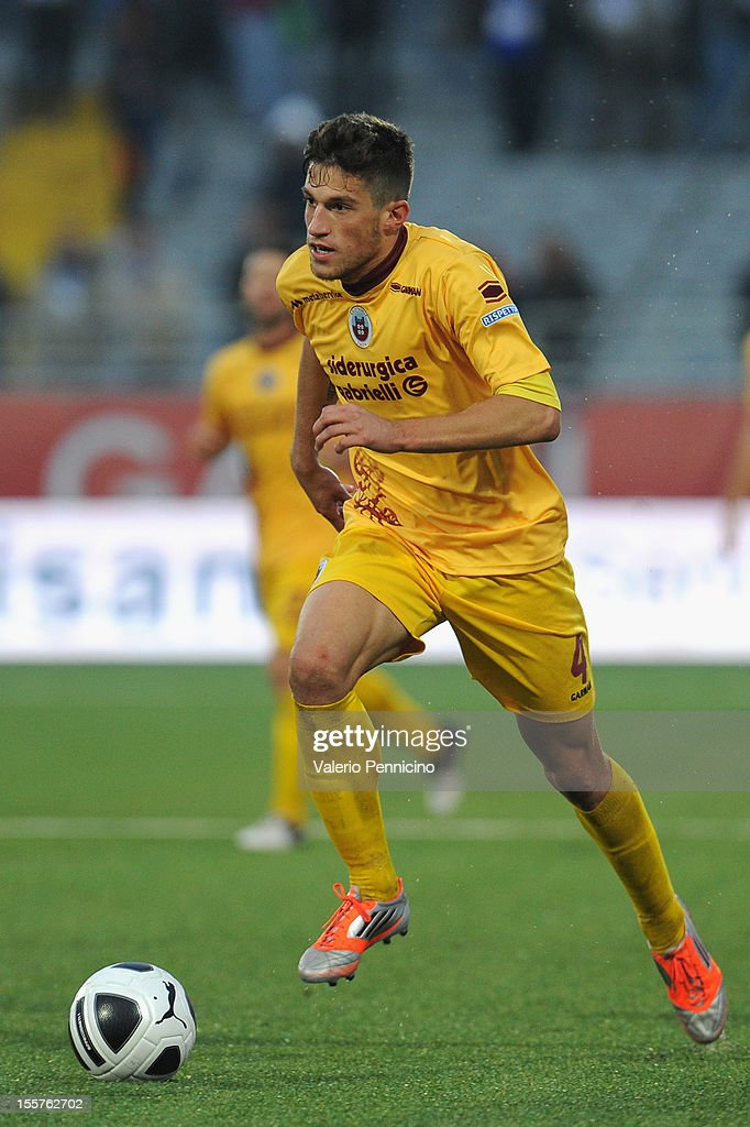 Cristiano Biraghi of AS Cittadella in action during the Serie B match between Novara Calcio and AS Cittadella at Silvio Piola Stadium on November 3...