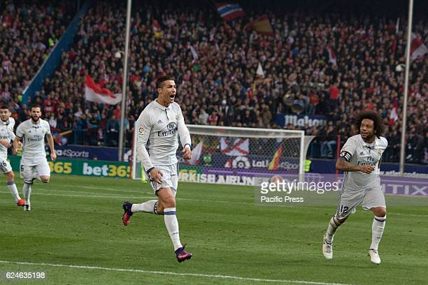 Cristiano celebrates the first Goal of the match whith Marcelo Real Madrid beats Atletico de Madrid by 3 to 0 in the last League derby in estadio...