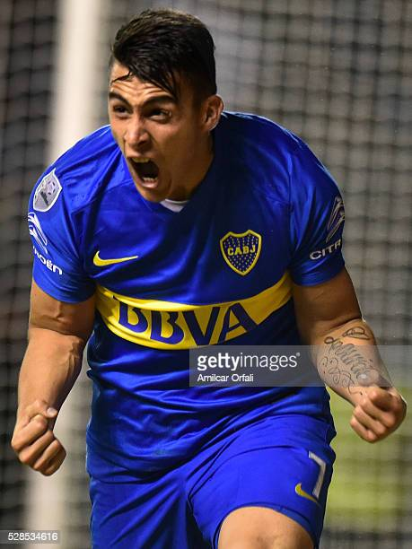 Cristiano David Pavon of Boca Juniors celebrates after scoring the second goal of his team during a second leg match between Boca Juniors and Cerro...