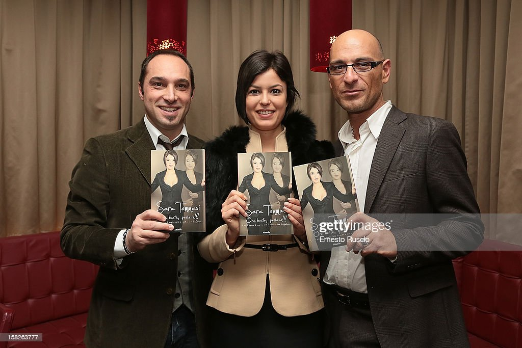 Cristiano De Masi, Sara Tommasi and Corrado Ferrante attend the Book Launch 'Ora Basta Parlo Io' at Elle Restaurant on December 12, 2012 in Rome, Italy.