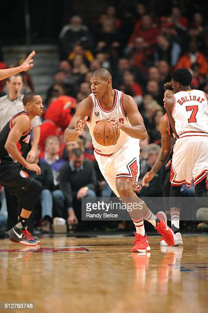 Cristiano Felicio of the Chicago Bulls drives to the basket against the Portland Trail Blazers during the game on February 27 2016 at United Center...